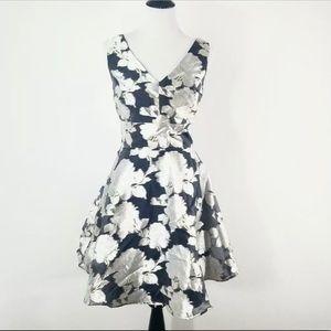 Nicole Miller BLUE/GOLD Floral Cocktail Dress 2